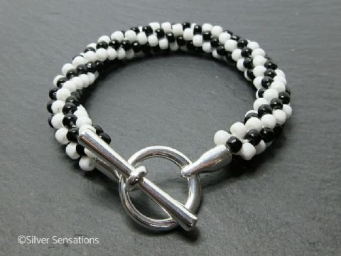 Black & White Swirly Stripey Kumihimo Seed Bead Fashion Bracelet